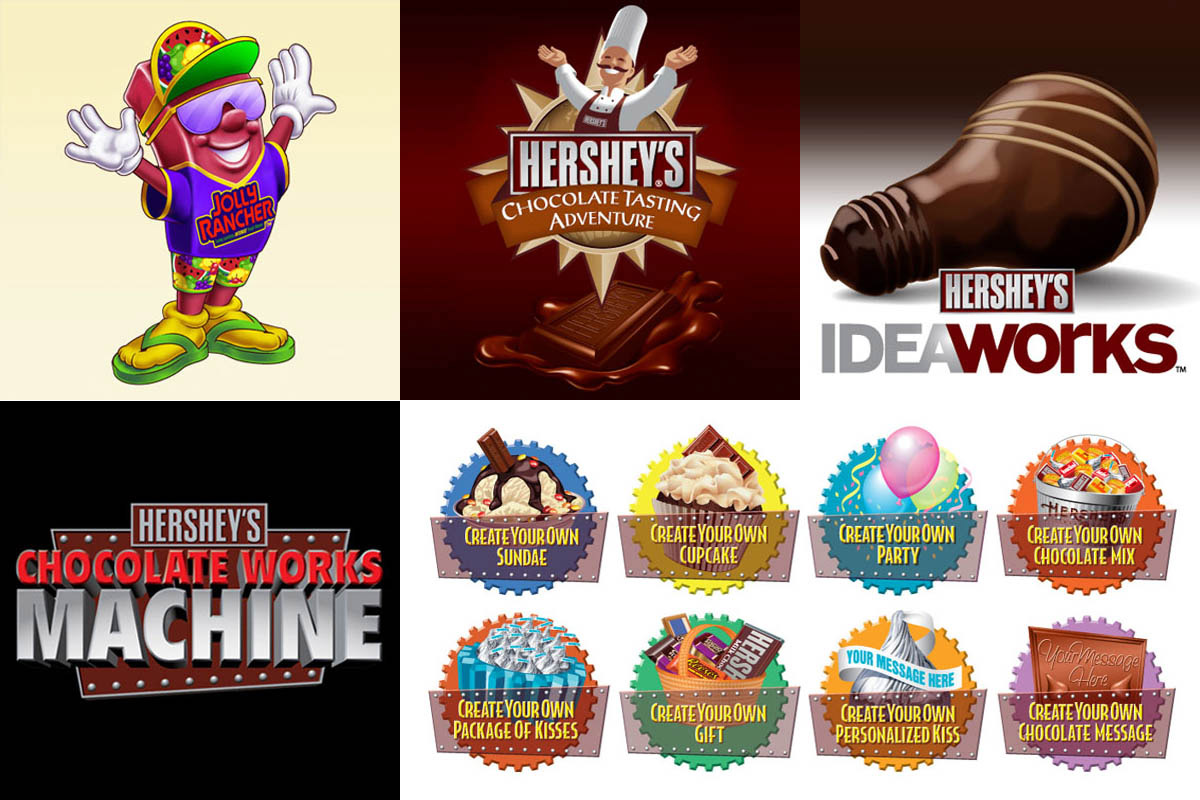 Illustrative logos and graphics for The Hershey Company.