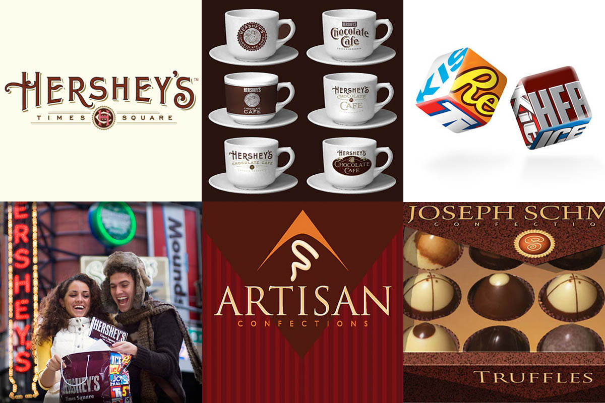 Identity marks for The Hershey Company retail stores located in Times Square and Chicago, and a proposed store considered for Las Vegas. Plus, photo casting and art direction, and the identity mark and packaging for Artisan, a mixed line of premium dark chocolates acquired by The Hershey Company.