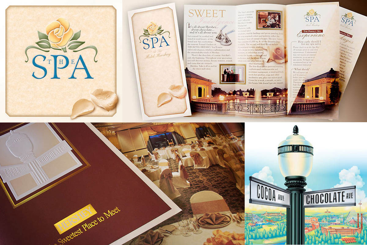 A new logo establishing the overall look and feel for The Spa at The Hotel Hershey. A glossy sales brochure for conference planners, and an iconic illustration created for Hershey Entertainment & Resorts.
