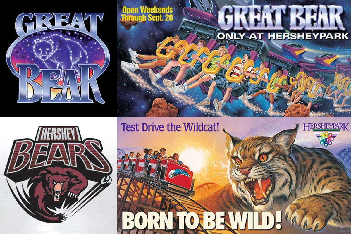 Identity and promotion introducing Great Bear, a new rollercoaster. An up-to-date logo for the Calder Cup champions Hershey Bears, the winningest team in American Hockey League history. Promotional illustration and advertising for the Wildcat, a new rollercoaster.