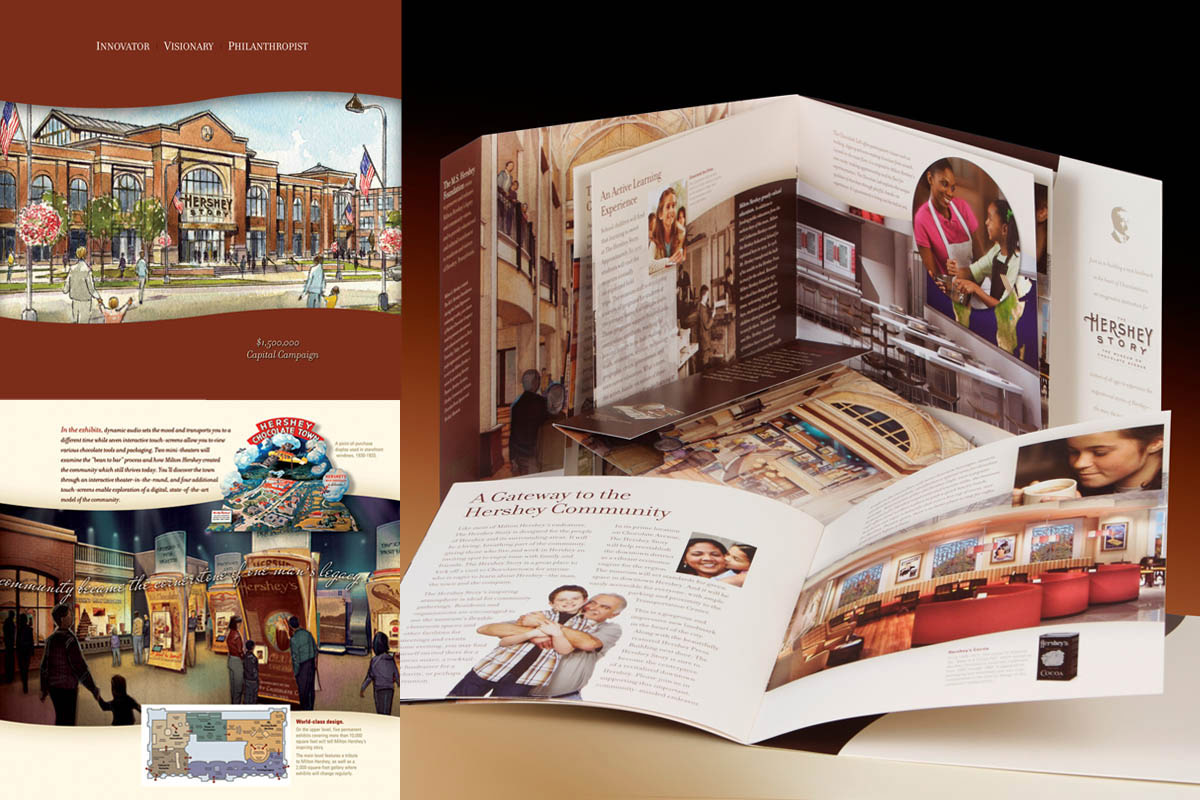 Fundraising brochure for the 1.5 million dollar capital campaign to build The Hershey Story, a museum dedicated to the life and times of chocolate manufacturer and philanthopist Milton S. Hershey.