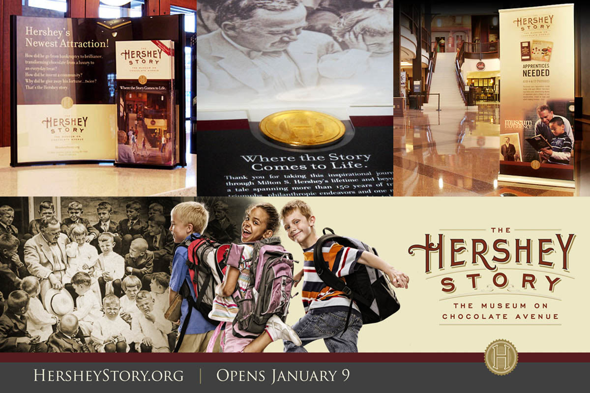 The Hershey Story. Promotional items including rack brochure and display, commemorative coin, pull-up display and billboard.