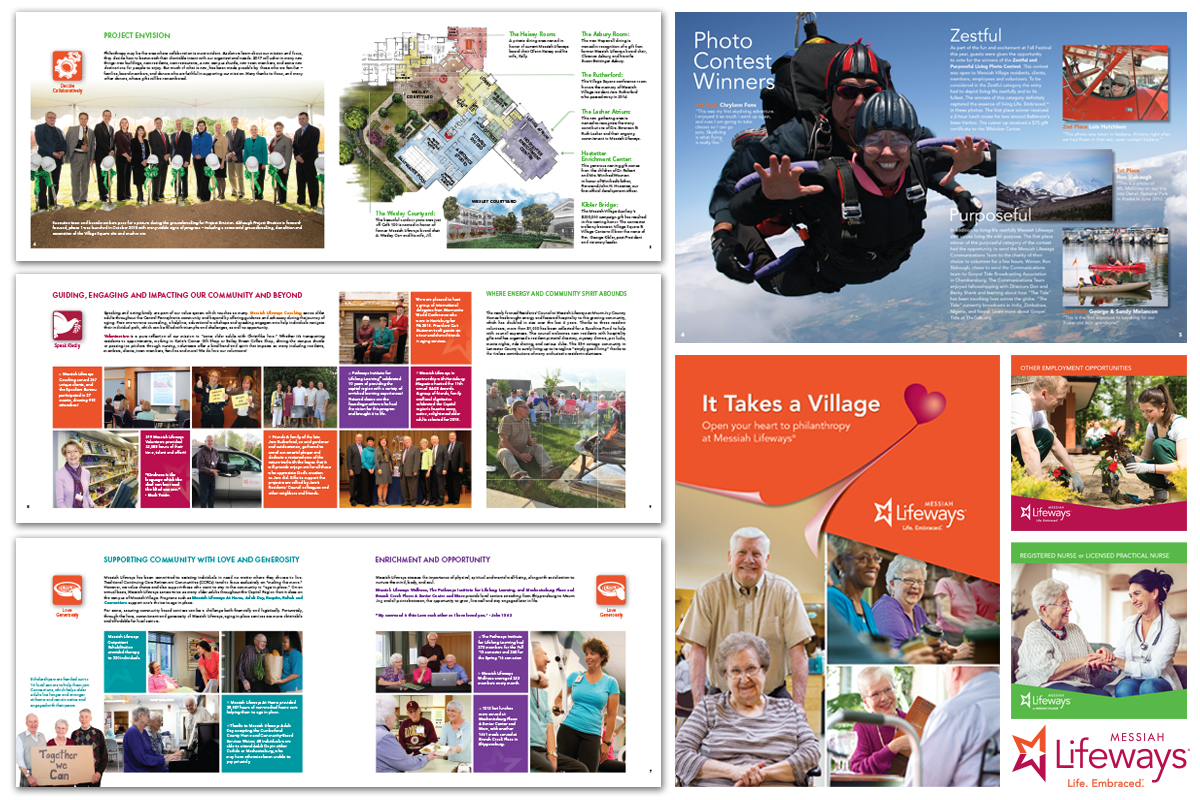 Spreads from an annual report, a newsletter spread, a folder cover and ads for Messiah Lifeways.