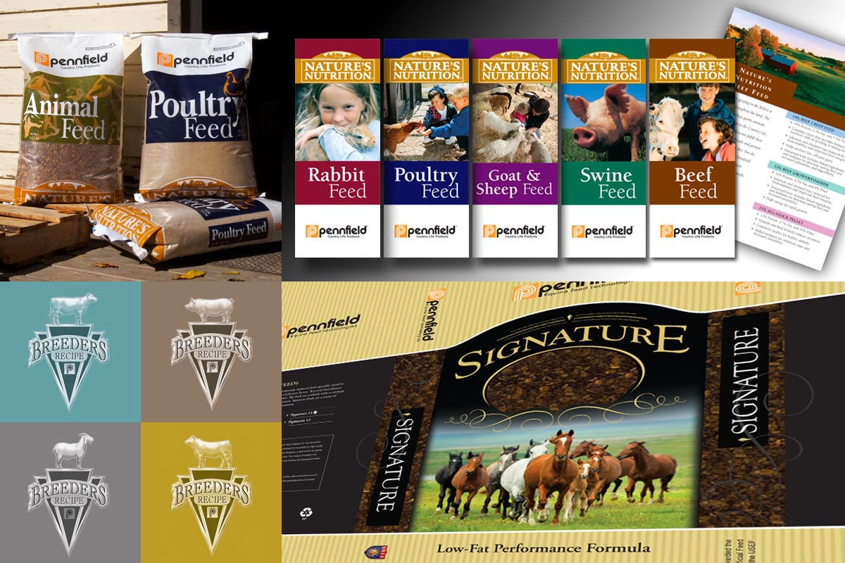 Product packaging, consumer brochures and point-of-sale for Pennfield Feeds
