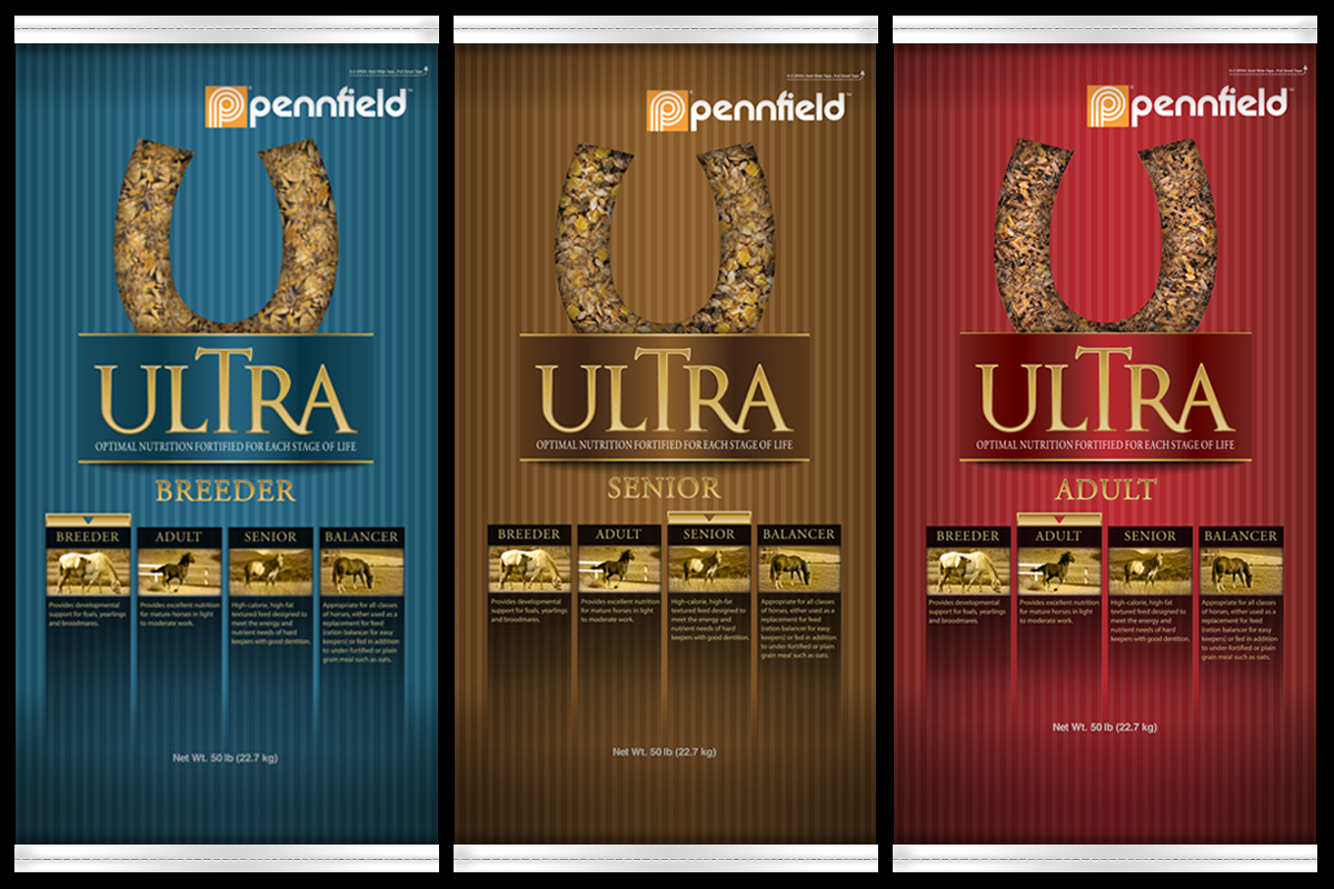 Packaging for Pennfield's Ultra line of equine horse feed.