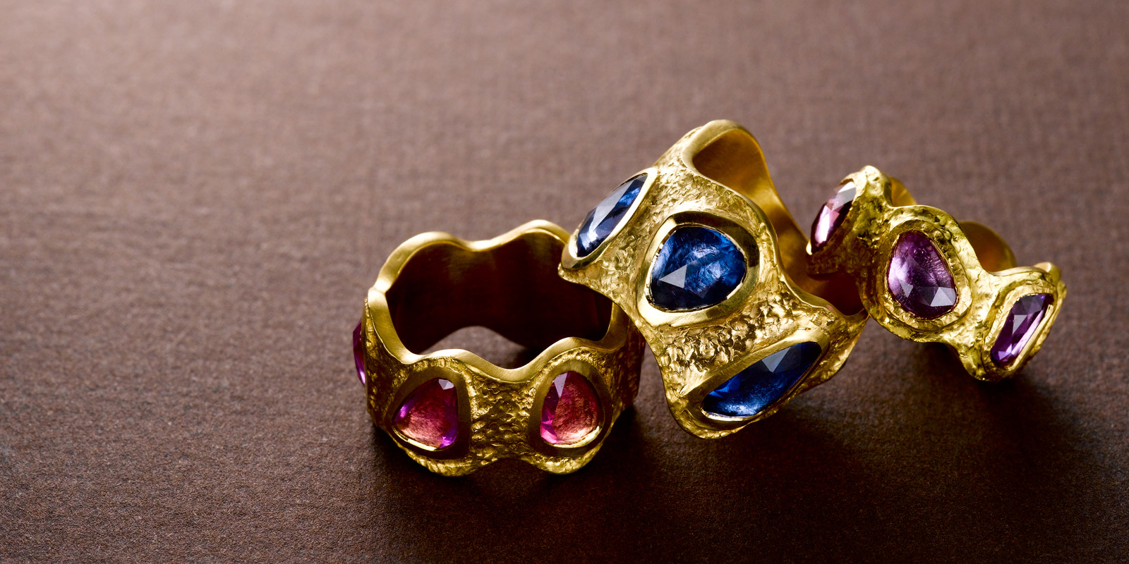 Rose cut Sapphires and 22 karat gold bands