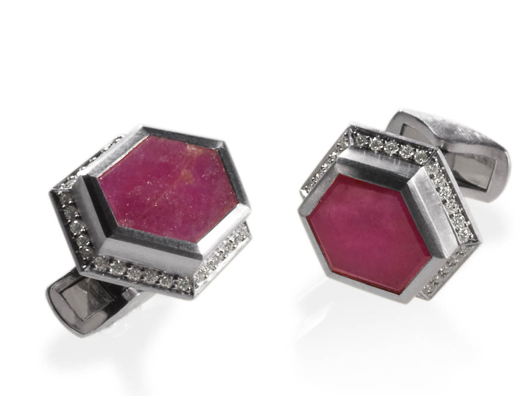 Ruby slices, diamonds, platinum