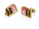 22 karat gold, tourmaline slices