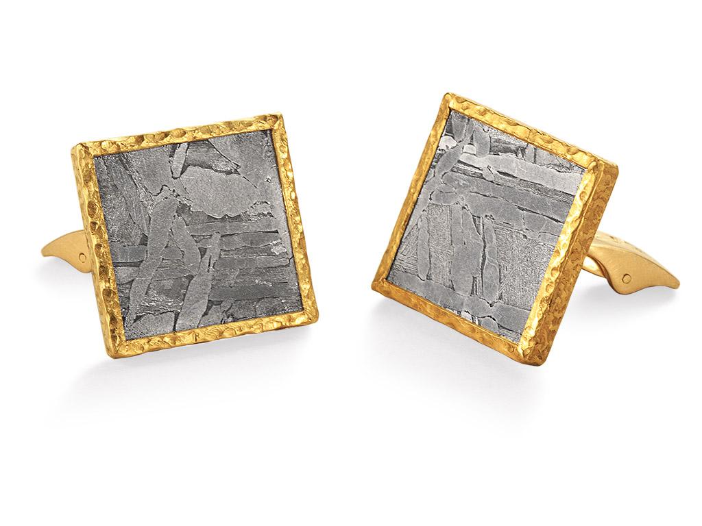Meteorite cufflink