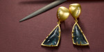 Indigolite dangle earrings with 22 karat gold and diamonds.