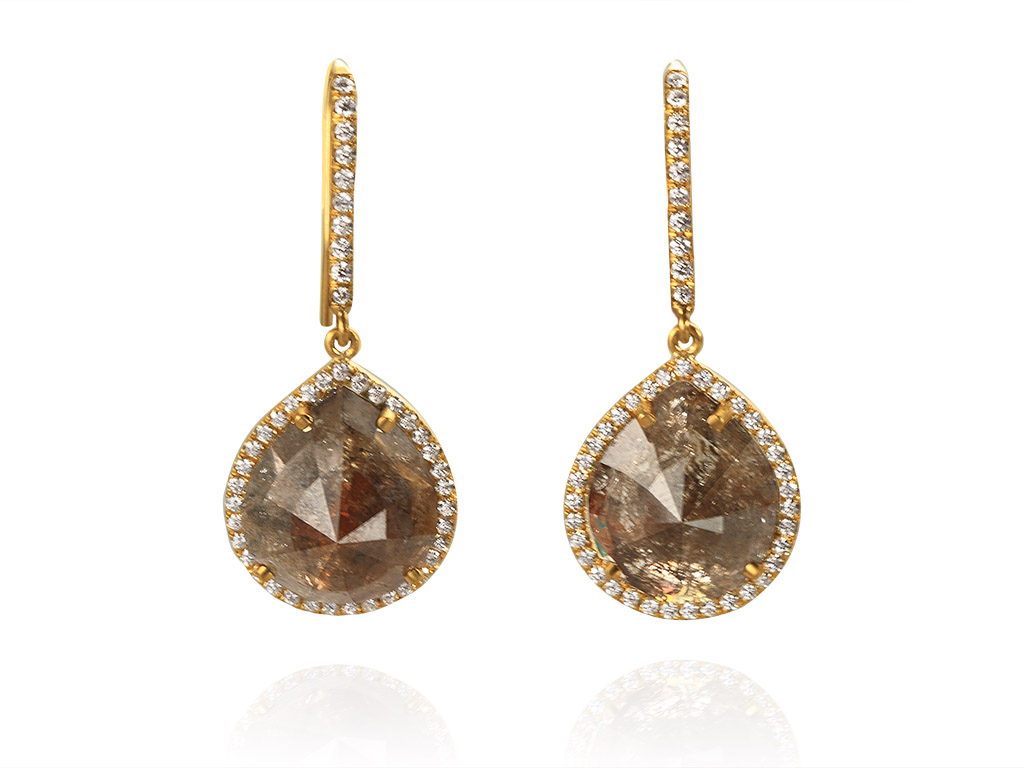 Opaque and white diamond dangles