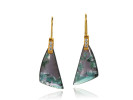 Tourmaline dangles with 22 karat gold and diamonds.