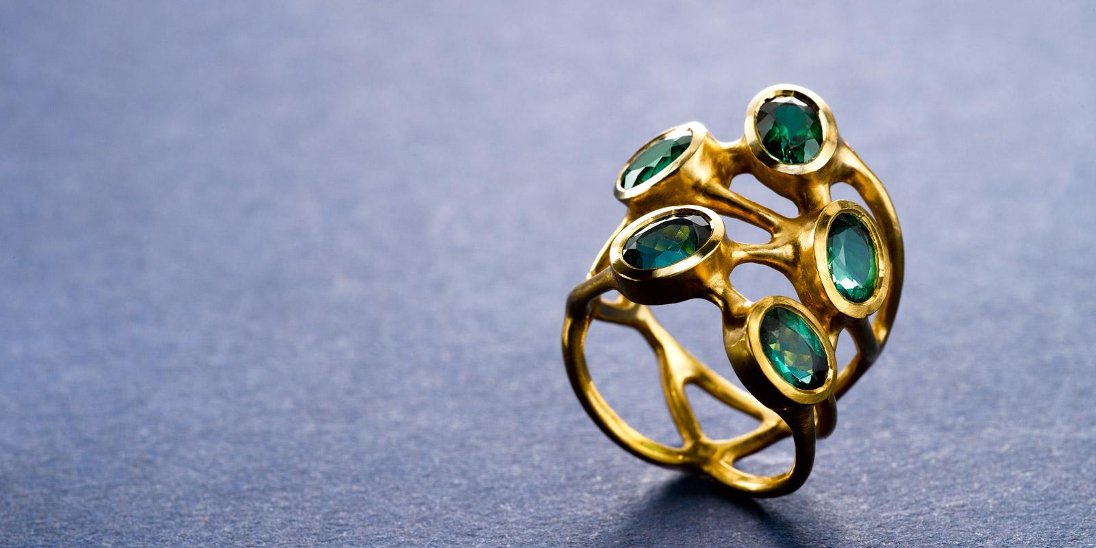 Green tourmaline and 22 karat gold ring