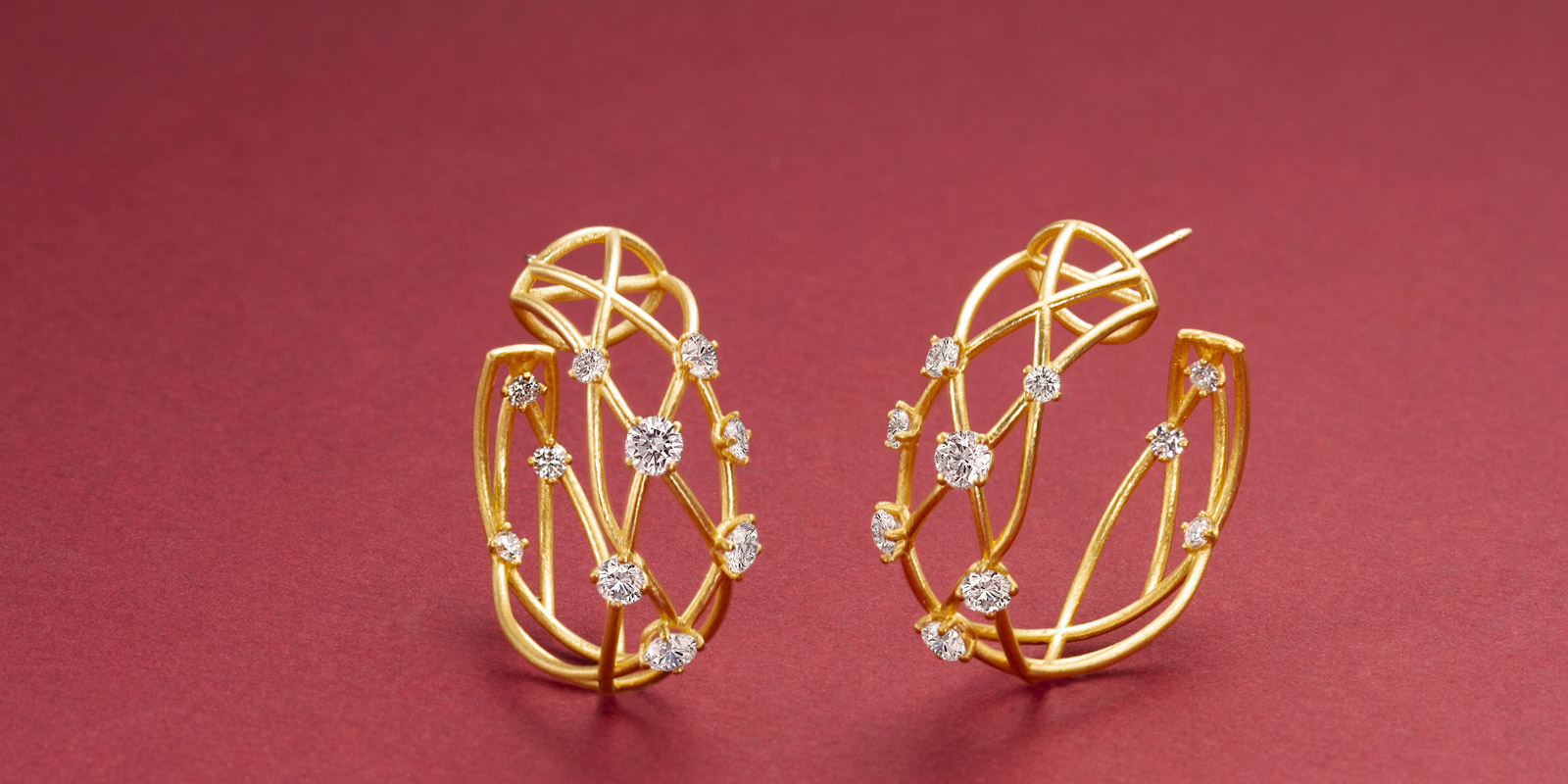 Judy hoops in 22 karat gold and diamonds