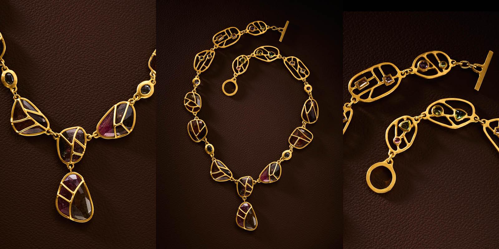 22 karat gold and tourmalines