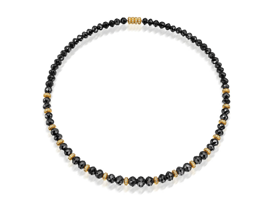 22 karat gold, black diamond beads, white diamonds