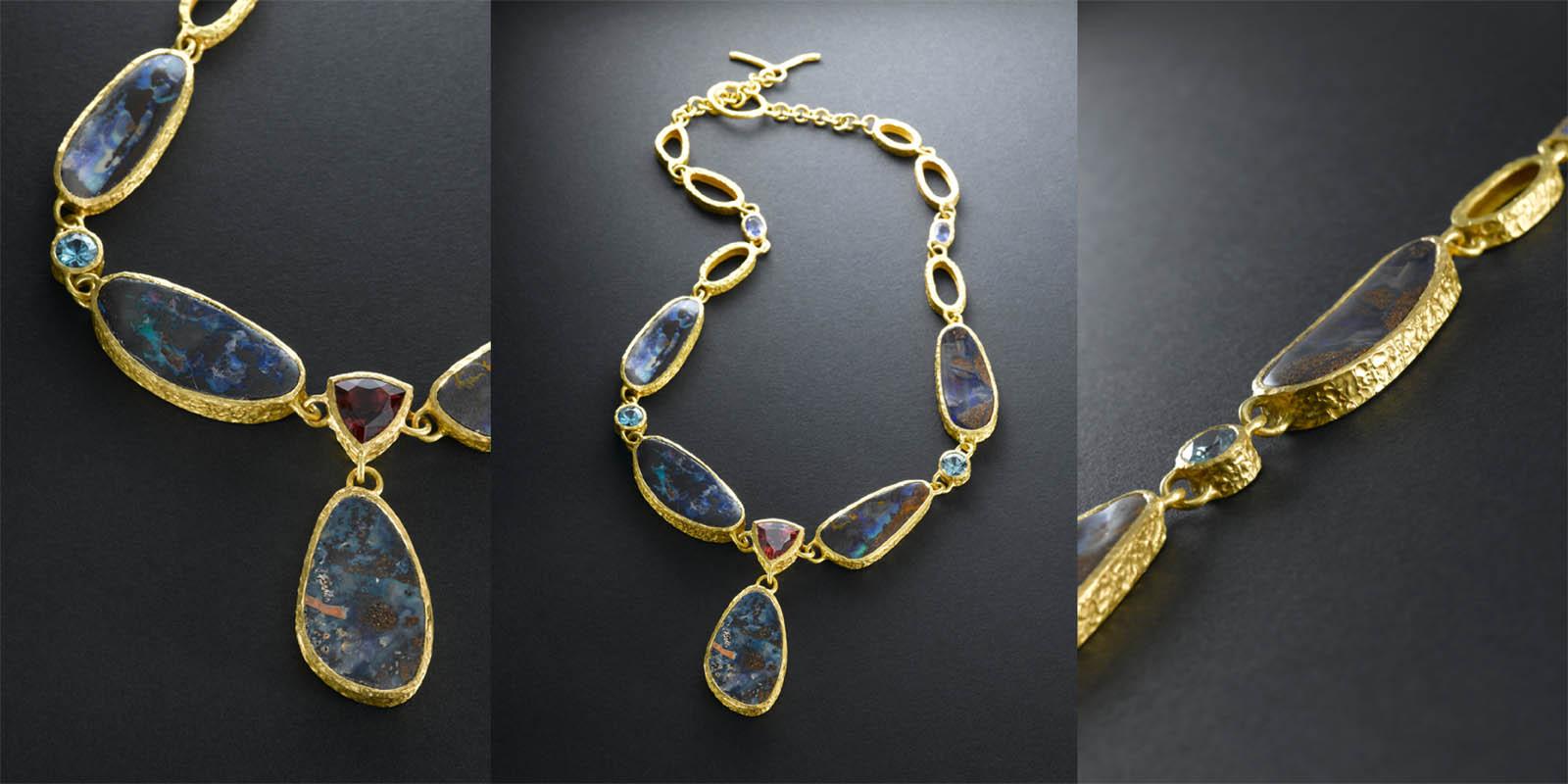 22 karat gold, boulder opals, brazilian tourmaline, zircons and tanzanites
