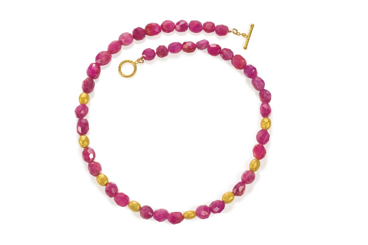 22 karat gold and pink sapphire beads