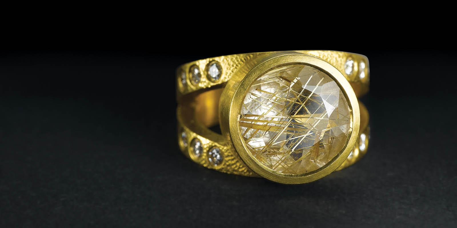 Rutilated quartz, diamonds and 22 karat gold ring.
