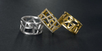 RACHEL bands. Platinum, 22K gold and diamonds