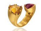 22 karat gold, citrine and rubelite