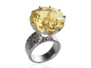 18 karat Palladium white gold and pinwheel citrine