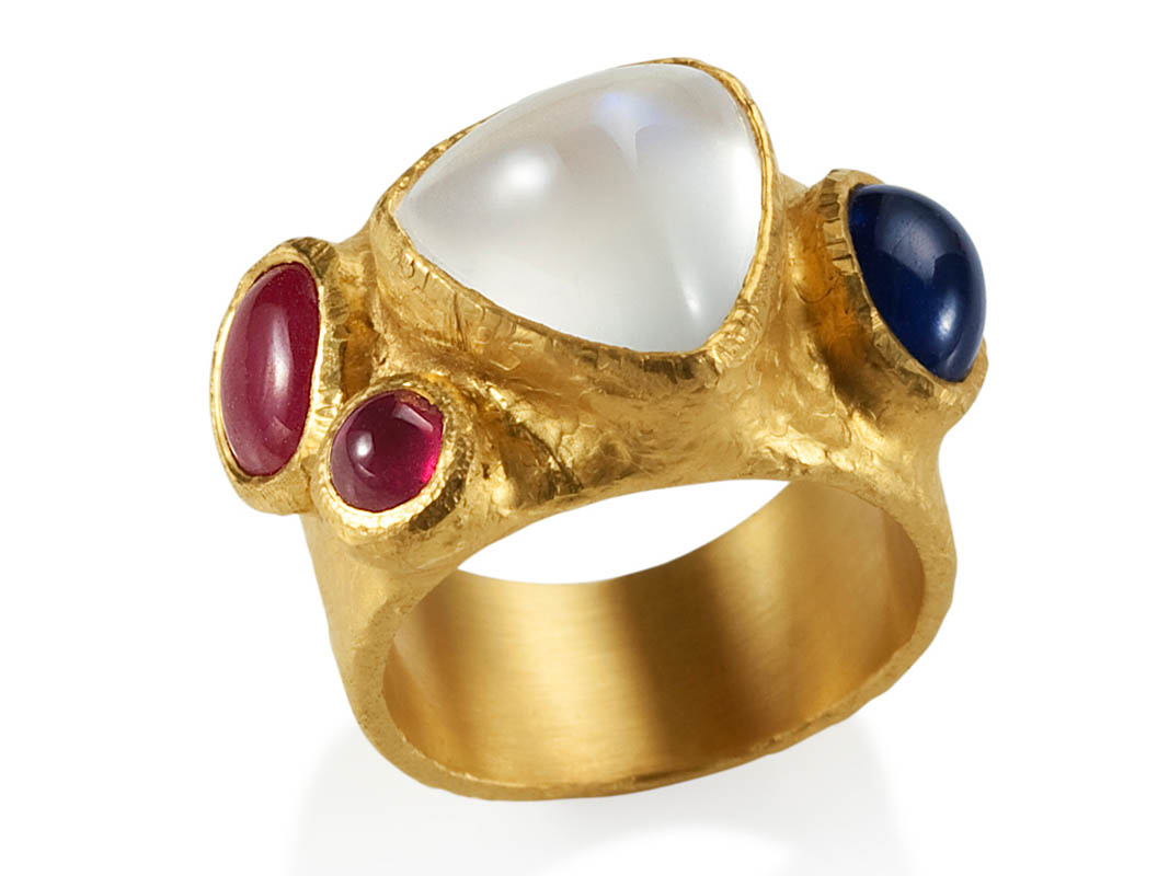 22 karat gold, moonstone, rubies and sapphire