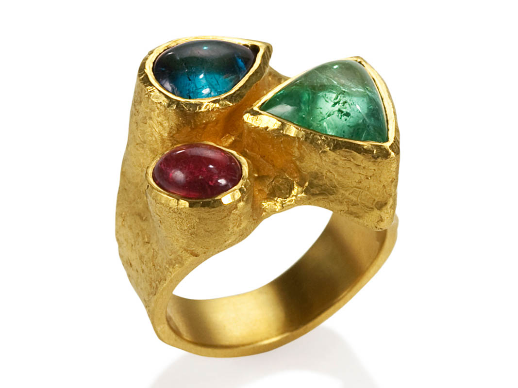 22 karat gold and tourmalines