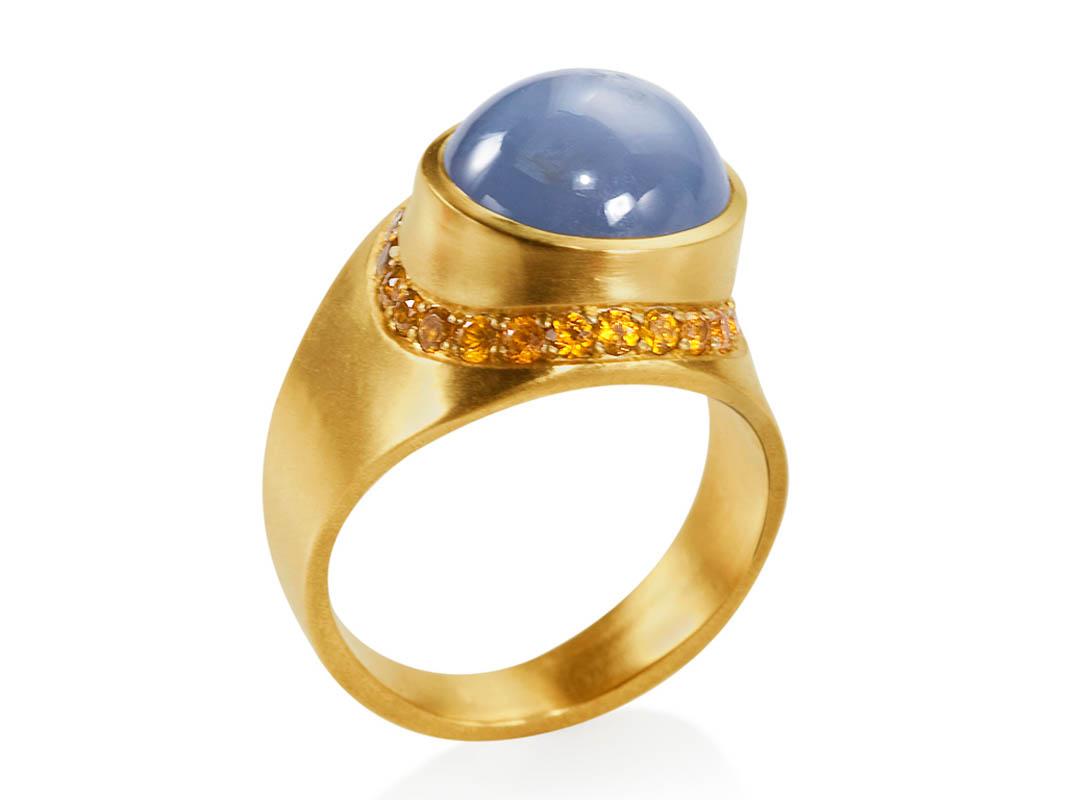 22 karat gold, sapphire star and spesartite garnets
