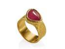 22 karat gold and rose cut pink sapphire