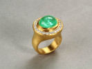 Hand hammered 22 karat gold. Paraiba tourmaline. Diamonds.