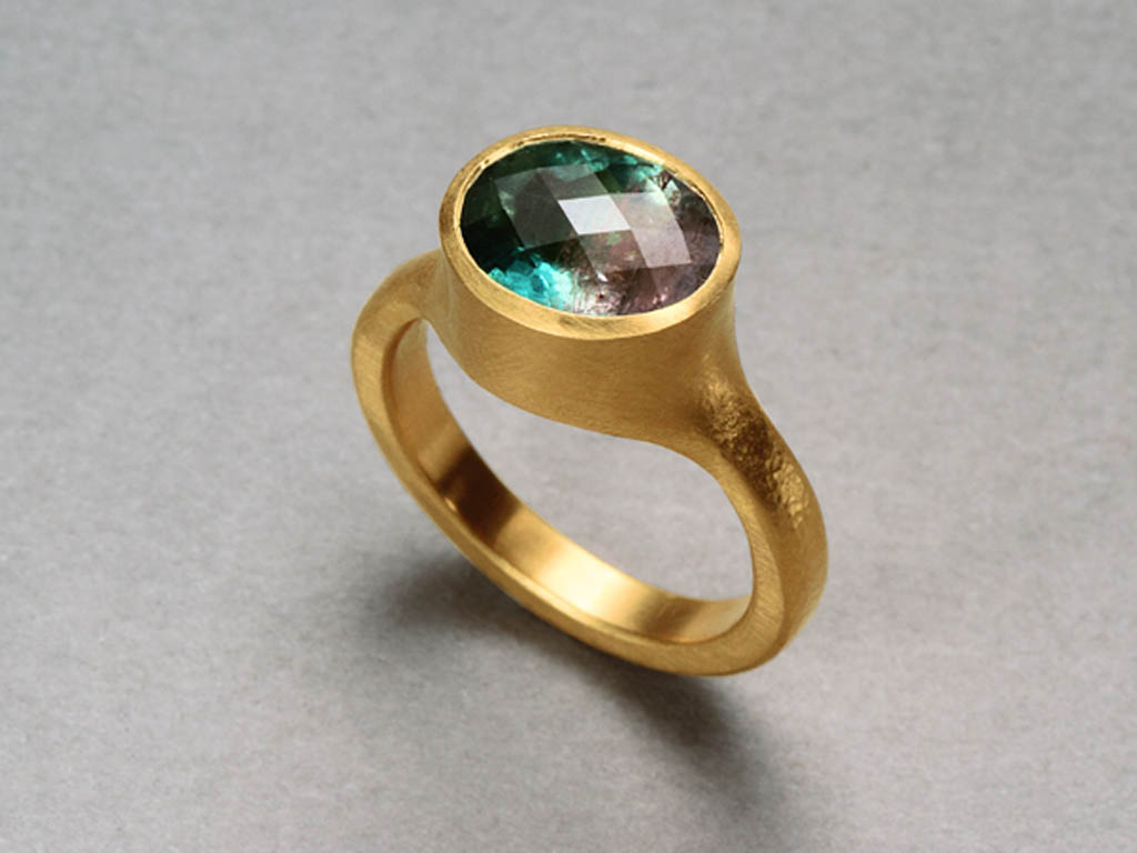 22 karat gold, Afghani pink and green tourmaline