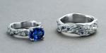 Platinum, sapphire and diamonds