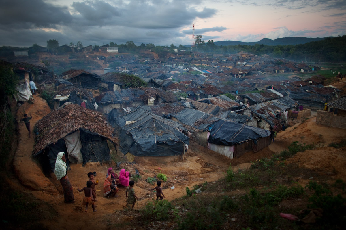 A view over where unregistered Rohingya refugees live on November 20, 2009 at Kutupalong Refugee Camp, Bangladesh. Thousands of unregistered refugees live next to the registered refugee camp, but are unable to receive benefits of registered status like education, healthcare and housing.