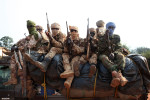 Chadian soldiers protecting a convoy of Chadian nationals fleeing bangui
