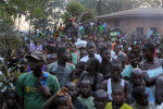 Refugees at the St jacques displaced site in Bangui.