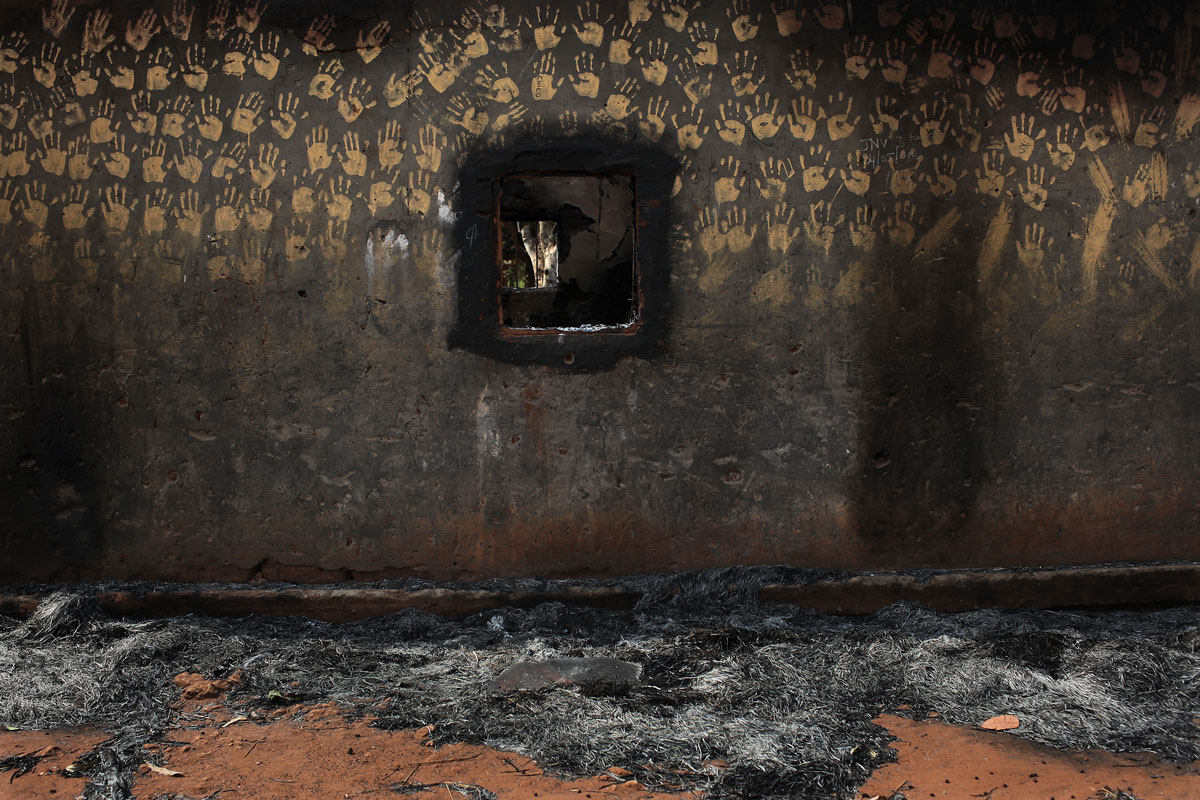 on the road to boali,houses have been burnt in the villages.