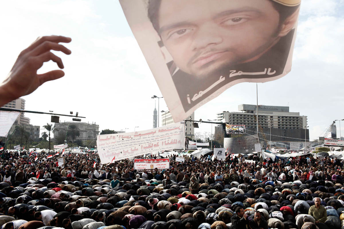 Egyptian people demonstrate against the government and President Mubarak in Tahrir square in Cairo.