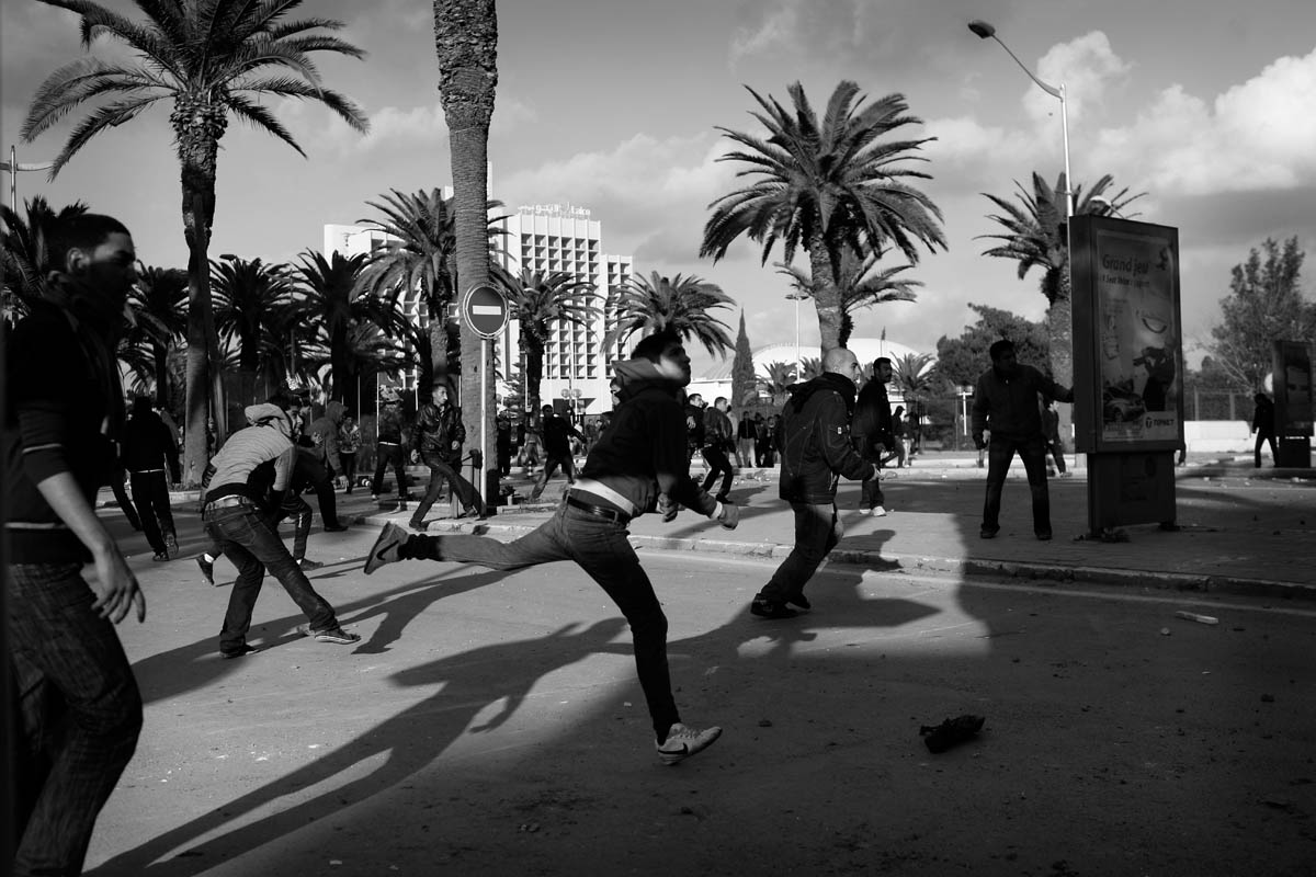 Demonstrations and riots in Center Tunis.After 5O years of repression,the Tunisian people can enjoy the right of demonstrating on the streets.