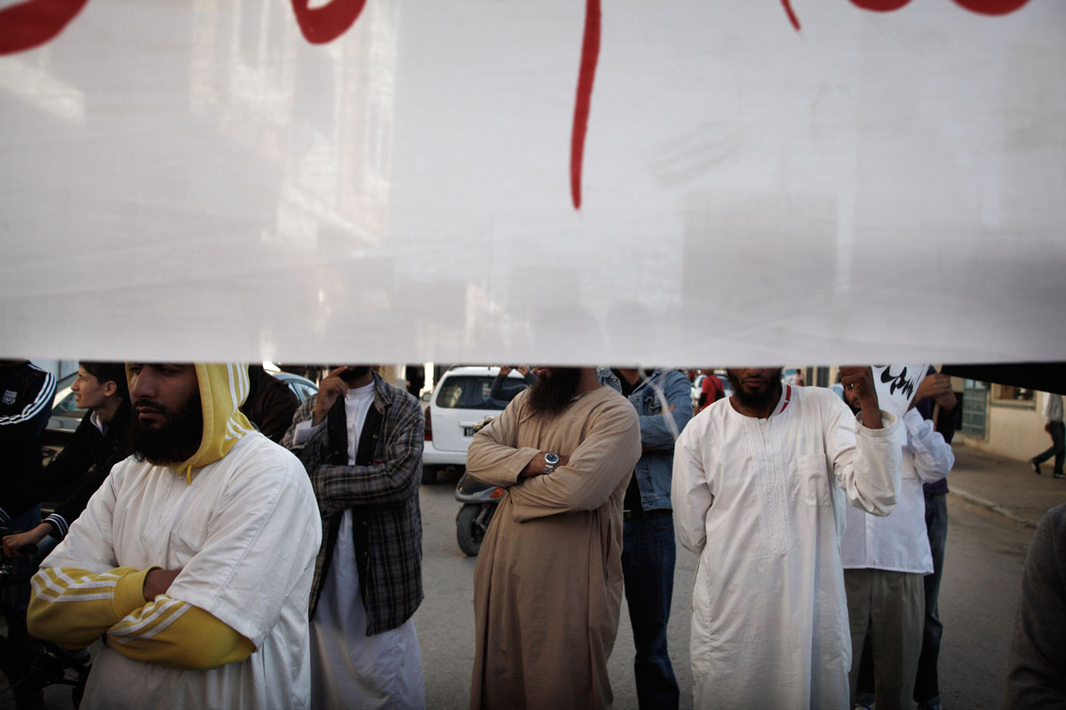 In Sidi Bouzid,hometown of Mohamed Bouazizi.A demonstration against the Nessma TV held by Islamists in the city center.They are calling for the turn off of the channel after it broadcast the controversial Iranian movie Persepolis.