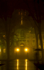 Nassau Hall on a misty rainy evening