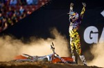 Levi Sherwood celebrates after taking the silver medal in freestyle Moto X at X Games Sixteen at the L.A. Coliseum in Los Angeles, California, on Thursday, July 29, 2010.