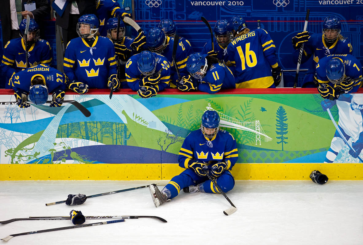 Team Sweden reacts after the bronze medal game where Sweden took on Finland at the BC Hockey Place during the 2010 Winter Olympics in Whistler, British Columbia, on Thursday, Feb. 25, 2010. Finland won 3-2.