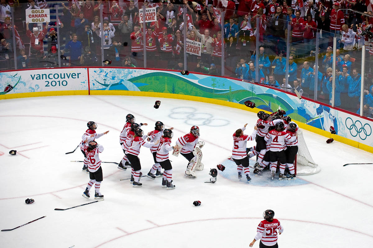 Team Canada celebrates after winning the gold medal game at the BC Hockey Place where Canada took on the USA during the 2010 Winter Olympics in Vancouver, British Columbia, on Thursday, Feb. 25, 2010. Canada won 2-0.