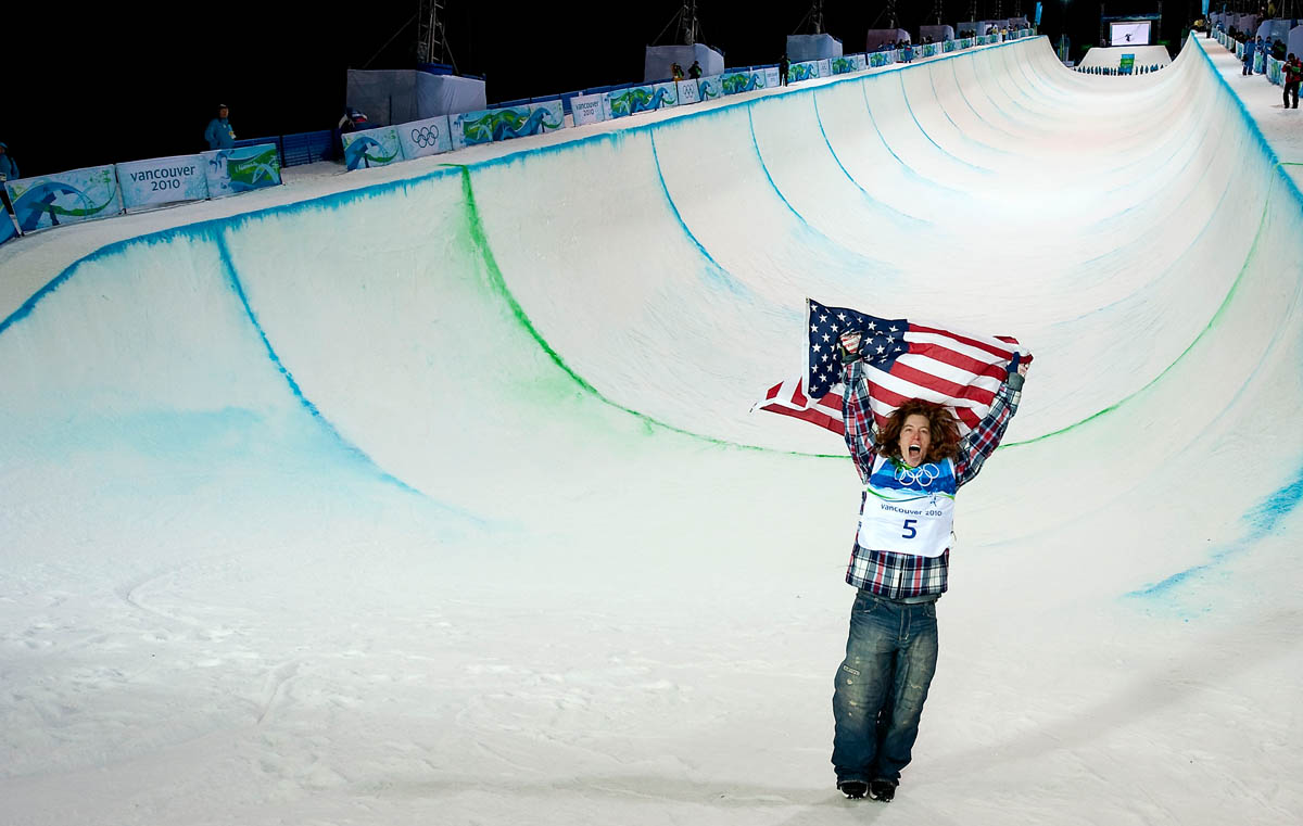Shaun White, USA, celebrates after winning the men's halfpipe competition at the 2010 Winter Olympics in Cypress, British Columbia, on Wednesday, Feb. 17, 2010.