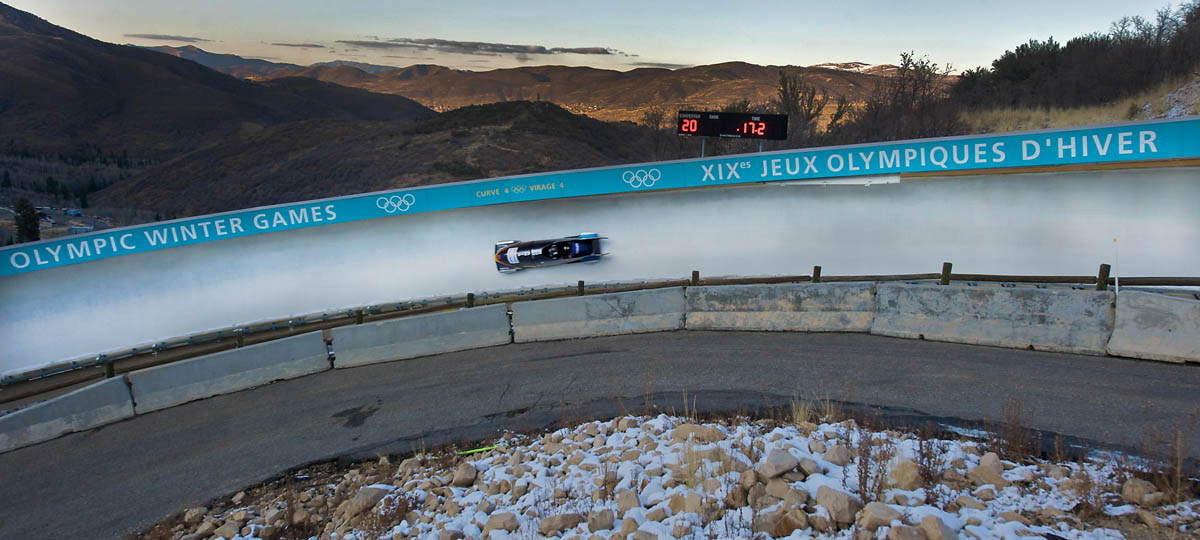 Romanian Team 1, from front, Pilot Carmen Radenovic and Brakeman Maria Dragan take their one and only run of the day finishing with a time of 51:45, missing the cut for the second and final heat during the 2009 Bobsled World Cup at the Utah Olympic Park in Park City, Utah., Friday, Nov. 13, 2009.