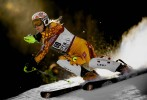 Erin Mielzynski, CAN, speeds towards the finish line during her run down the Lower Ruthies Run while competing in the women's slalom event on Aspen Mountain during the 2009 FIS Ski World Cup in Aspen, Colo., Sunday, Nov. 29, 2009. Mielzynski finished in thirtieth place.