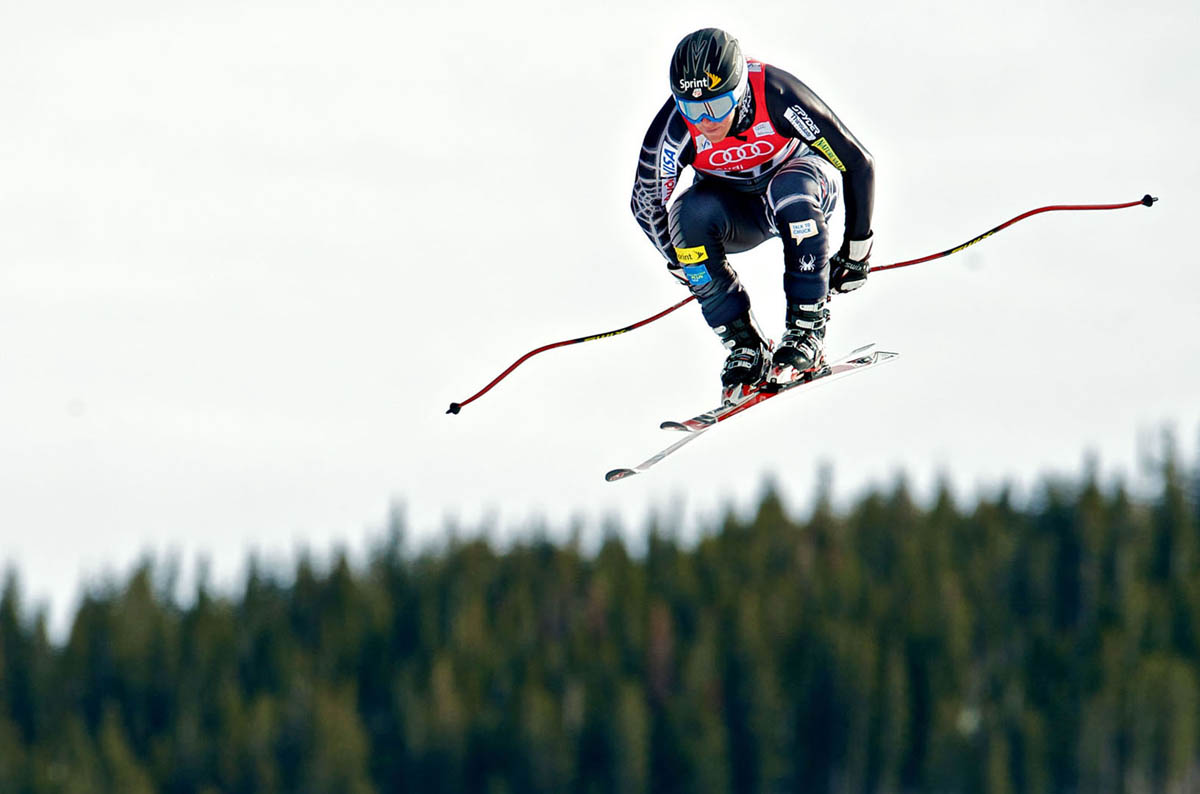 Marco Sullivan, USA, sores through the air during his run down the Golden Eagle run while competing in the men's downhill event  during the 2009 FIS Ski World Cup, Birds of Prey in Beaver Creek, Colo., Saturday, Dec. 5, 2009.