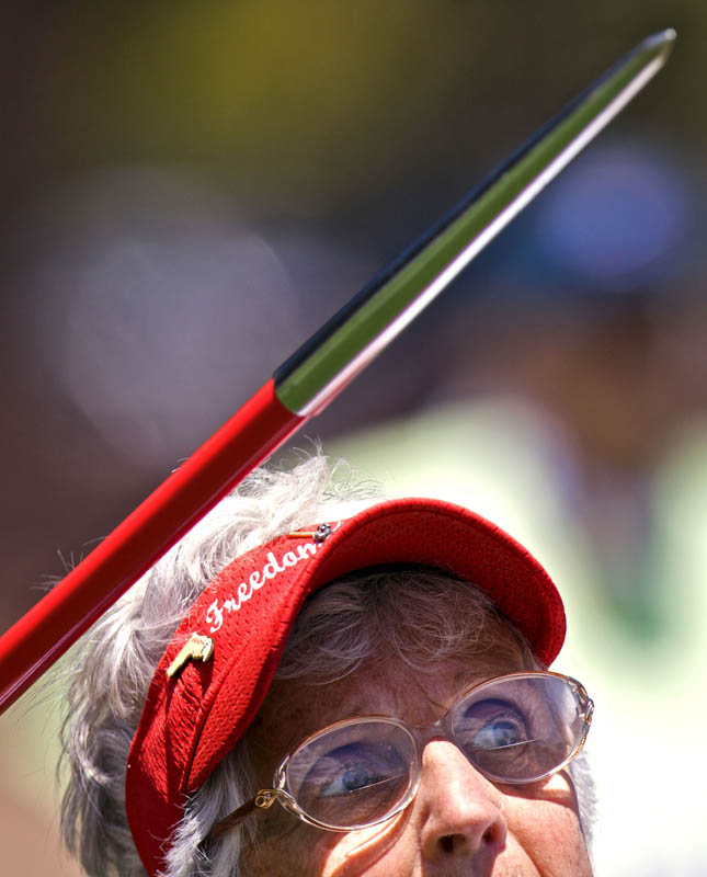 Ethel Lehmann (FL) 79, looks down field as she throws the javelin during her women's 70 + javelin throw at the 2009 Senior Games Wednesday, Aug 5, 2009 at the University of Stanford's Steuber Rugby Stadium in Palo Alto, Calif. Lehmann competed in both the javelin and softball only hours apart.