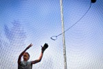Joy Kaylor (CO), 71, releases the hammer during the hammer throw event at the 2009 Senior Games on Wednesday, Aug 5, 2009 at the University of Stanford's Cobb Track and Angell Field in Palo Alto, Calif. Kaylor injured her shoulder a few weeks prior to the even and in preparation kept it rested. She went into practice not even knowing if she would be able to complete a single legal throw, all she needed to place.